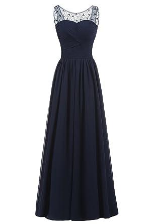 La Vogue Womens Sleeveless Long Chiffon Lace Evening Gown Prom Dresses ...