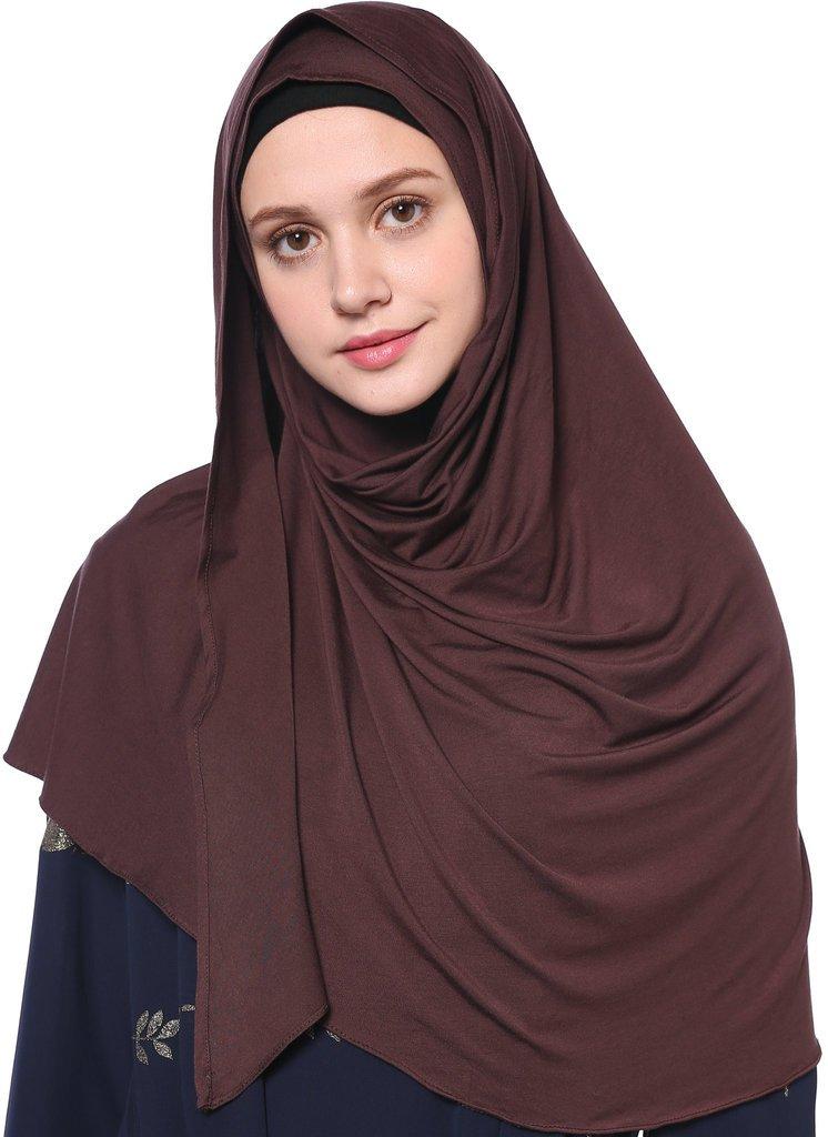 YI HENG MEI Women's Modest Muslim Islamic Soft Solid Cotton Jersey Inner Hijab Full Cover Headscarf,Coffee