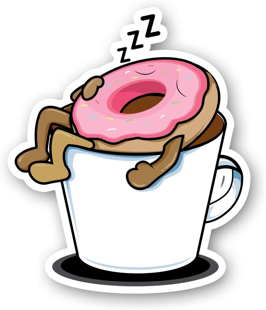 Donut Sleeping in Mug Sticker Funny Stickers - Laptop Stickers - 2.5 Inches Vinyl Decal - Laptop, Phone, Tablet Vinyl Decal Sticker S214420