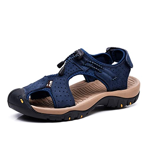 e3e7d8898d56 gracosy Men Leather Sandals Closed Toe Comfy Footwear Fashion Beach Summer  Outdoor Shoes Hook Loop Sports
