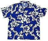 Summer Time Breeze Boys Hibiscus Button Down Hawaiian Shirt (XX-Large, Blue)