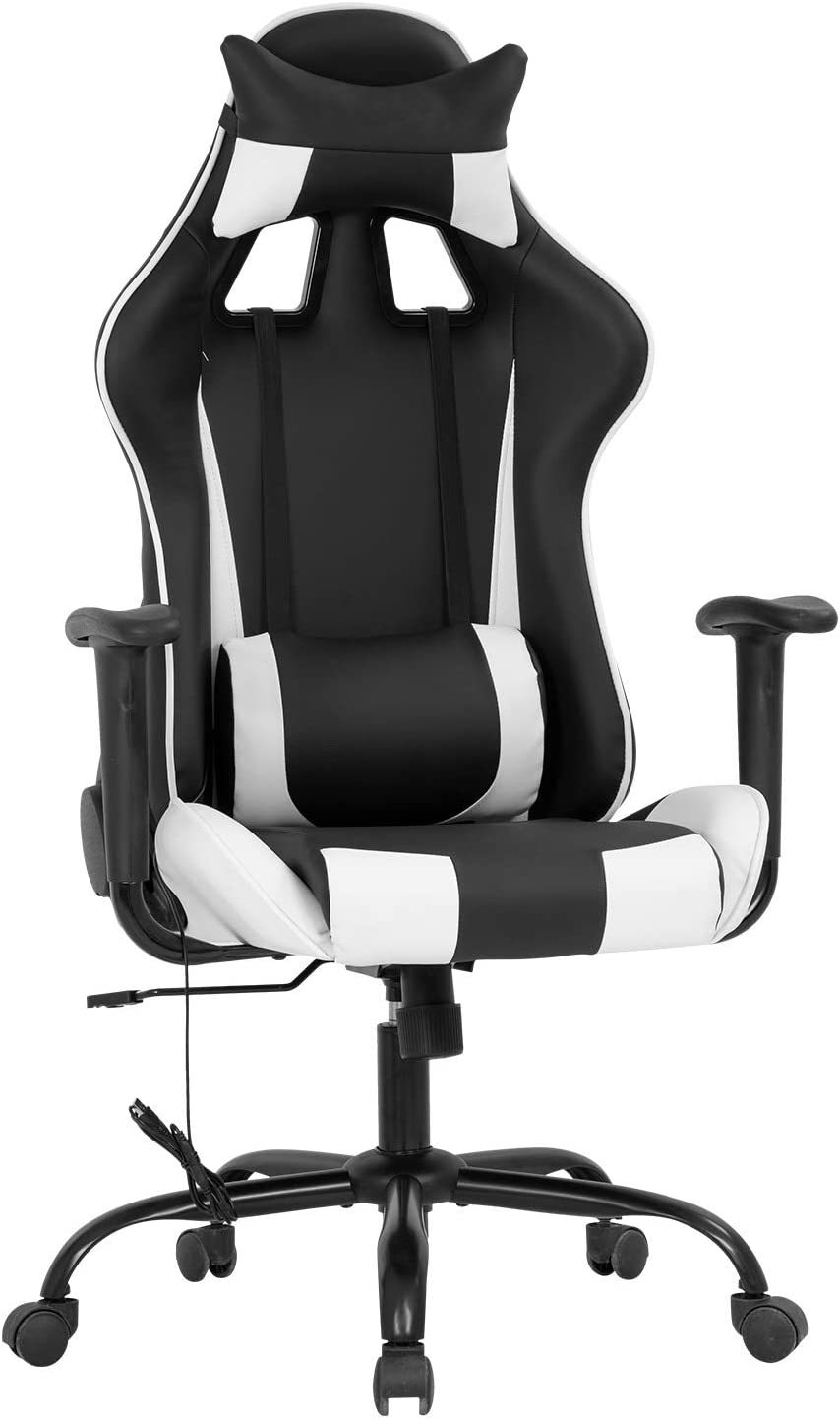 Amazon Com Gaming Chair Massage Office Chair Racing Desk Chair Pu Leather Rolling Task Adjustable Computer Chair With Lumbar Support Headrest Armrest Swivel Chair For Gamer White Furniture Decor