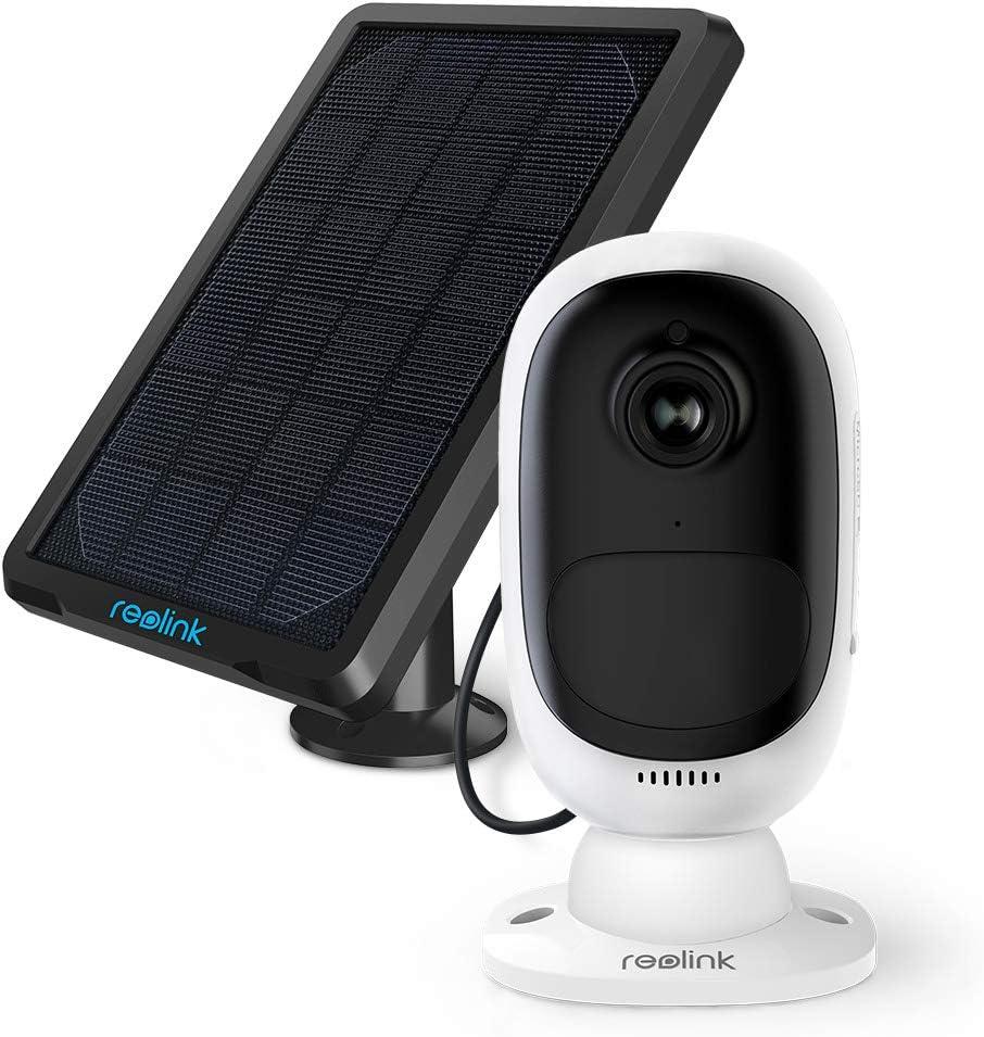 Reolink Argus 2 Cámara Vigilancia con Panel Solar, 1080P WiFi Exterior Cámara IP Inalámbrica con Batería Recargable, Detección de Movimiento PIR, Audio Bidireccional, para Hogar Seguridad