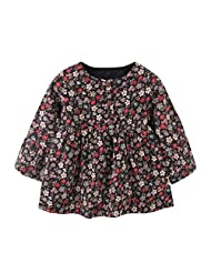 Weixinbuy Baby Girls Floral Patterned Autumn Long Sleeve Cotton Dress