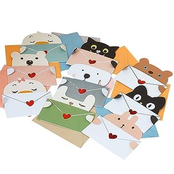 Amazon.com : Zhi Jin 20Pcs Greeting Cards Cute Animal DIY ...