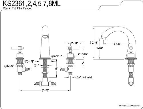 Kingston Brass KS2368ML Milano Roman Tub Filler, Brushed Nickel