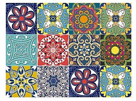 Marvelous Bricka Premium Multicolor Tile Stickers Decorative 6X6 Inches Set 10 Units Peel And Stick Backsplash Kitchen Bathroom Stairs Home Decor Download Free Architecture Designs Scobabritishbridgeorg
