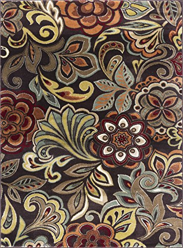 Brown Transitional Area Rug (Dilek Contemporary Abstract Brown Rectangle Area Rug, 9' x 12.6')