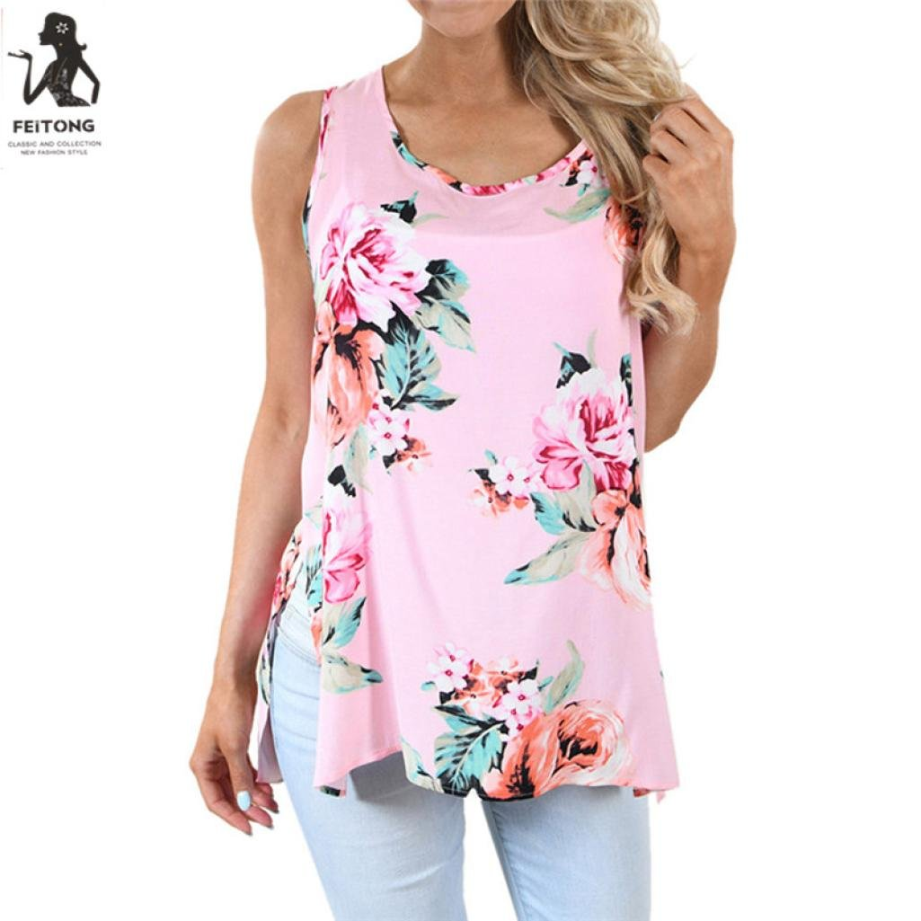 Amazon.com: Teresamoon Floral Crop Top, Women Casual Sleeveless Cami Top Vest Tank Shirt: Clothing