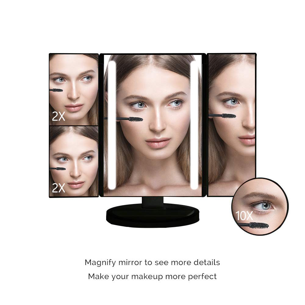 World Power Lighted Makeup Mirror with 24 LED Lights,Tri-Fold Vanity Mirror, 3 X 2X 1X Magnification Mirror with Touch Screen and Removable 10X Magnification Spot Mirror,Dual Power Supply Black