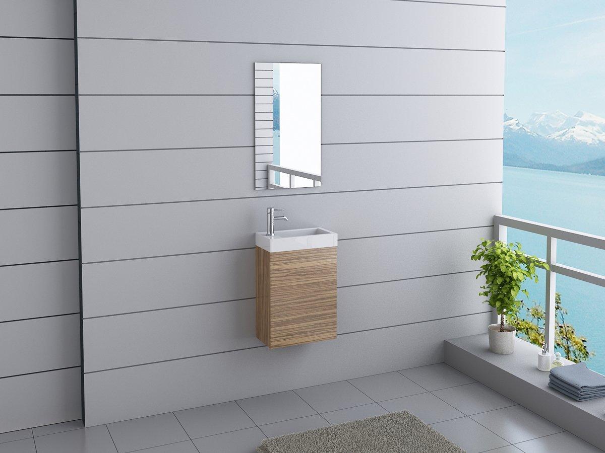 Unbekannt Badmöbel California inkl. Spiegel inkl. Wasserhahn Gäste WC Waschtisch Set 7 moderne Farben