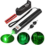 Green Laser Pointer High Power 532nm Long Distance Beam for Astronomy, with a 18650 Rechargeable Battery and a Charger, Laser Pointer Pen Perfect for Cats/Dogs