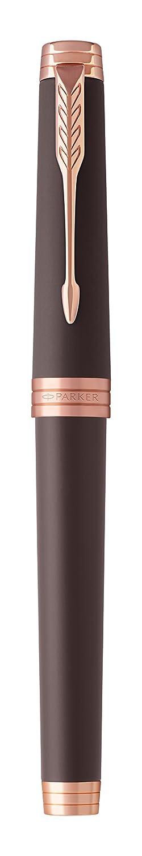 Parker Premier 1931401 Pluma estilogr/áfica negro lujoso con adorno cromado, plum/ín fino y recambio de tinta negra
