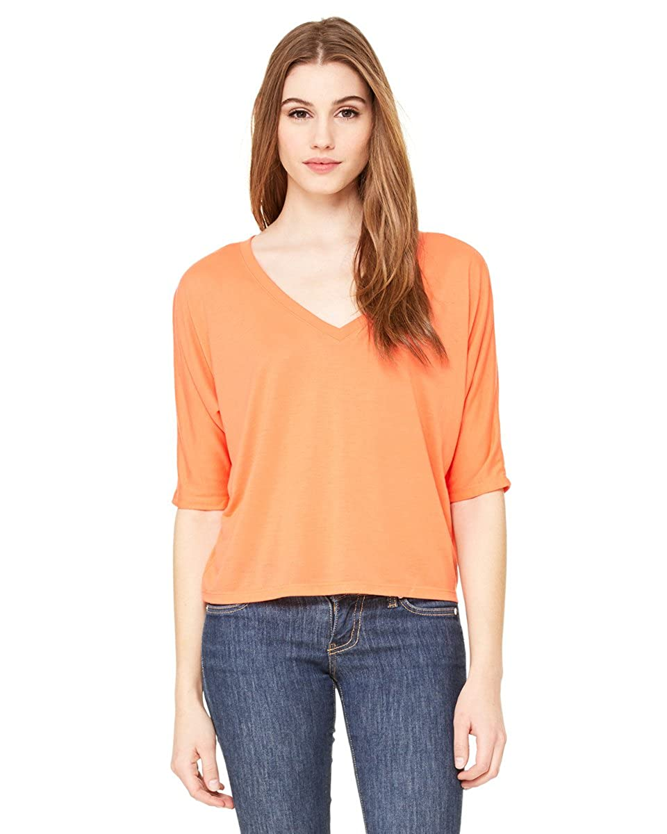 8825 Bella Canvas Ladies Flowy Boxy Half-Sleeve V-Neck T-Shirt