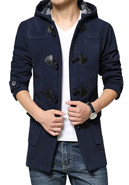 8bfe09bad5a Chickle Men s Wool Blend Long Trench Toggle Coat With Hood at Amazon Men s  Clothing store