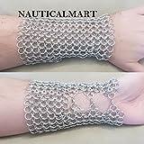 Chainmail Metal Gauntlet Arm Guard LARP Gear- Mens Womens Unisex - Steel Silver Viking Costume