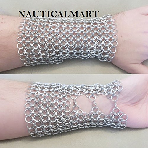 Chainmail Metal Gauntlet Arm Guard LARP Gear- Mens Womens Unisex - Steel Silver Viking Costume by NAUTICALMART