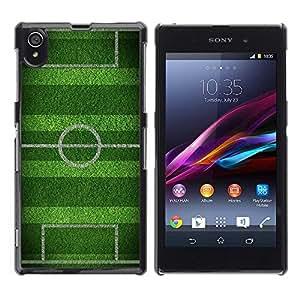 FECELL CITY // Duro Aluminio Pegatina PC Caso decorativo Funda Carcasa de Protección para Sony Xperia Z1 L39 C6902 C6903 C6906 C6916 C6943 // Soccer Field Goal Game Goal