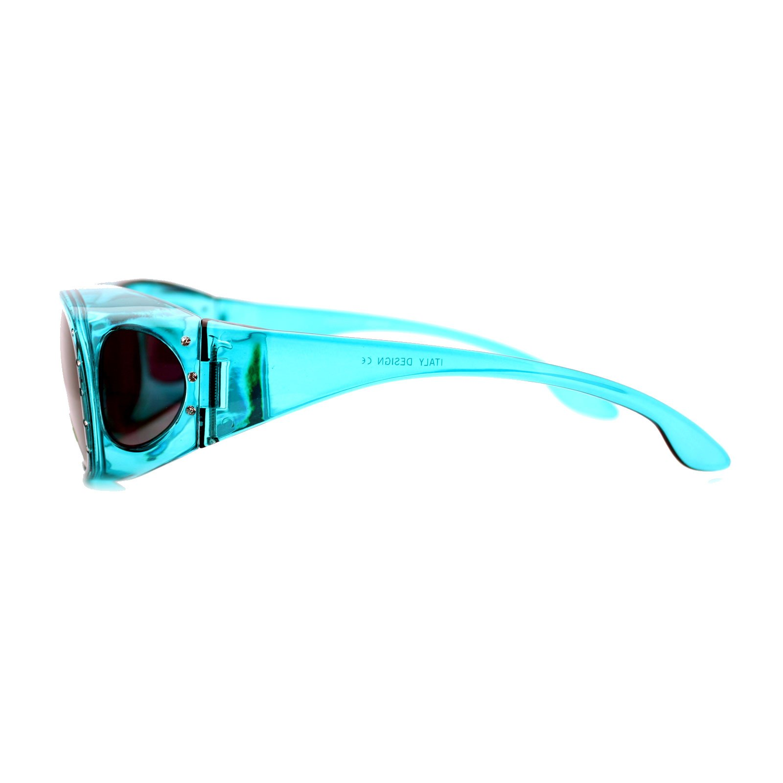 Womens Polarized Fit Over Glasses Rhinestone Sunglasses Oval Rectangular Teal by PASTL (Image #4)