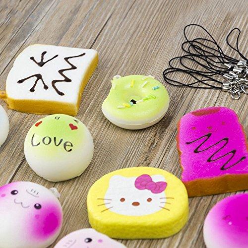 EVINIS 20Pcs Jumbo Medium Mini Random Squishy Soft Panda/Bread/Cake/Buns Phone Straps (20 Pcs) by EVINIS (Image #5)