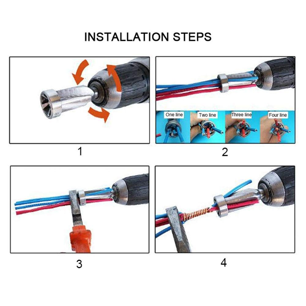 5 Lines Wire Stripper /& Twister Bit for Use w//Power Drill Driver Electric Wire Quick Connector Drill Bit KOBWA Wire Twisting Tool 2.5SQMM