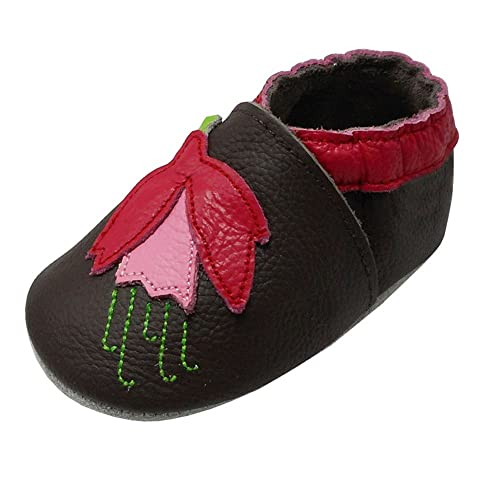 YIHAKIDS Soft Sole Baby Shoes Toddler Girl Moccasins Cartoon Flower Baby Slippers (7-7.5