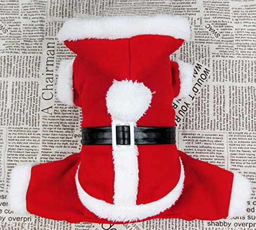 smalllee_lucky_store Pet Cat Dog Clothes Christmas Santa Claus Costume Hoodie Velvet Coat Jumpsuit Small Dog Clothes (Santa Hoodie)