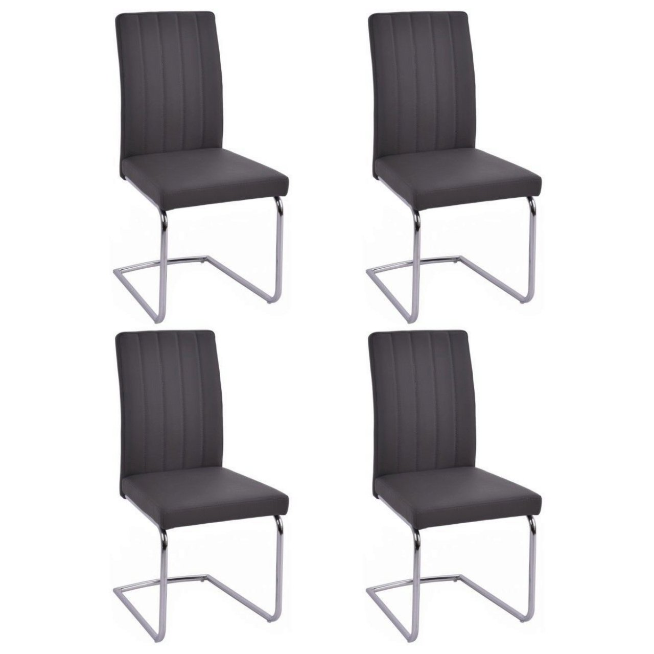 Elegant Dining Chairs High Back Elegant Design Durable PU Leather Home Office Furniture Grey - Set of 4 #1003