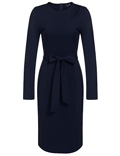 ANGVNS Women Long Sleeve Round Neck Cocktail Pencil Dress with Belt