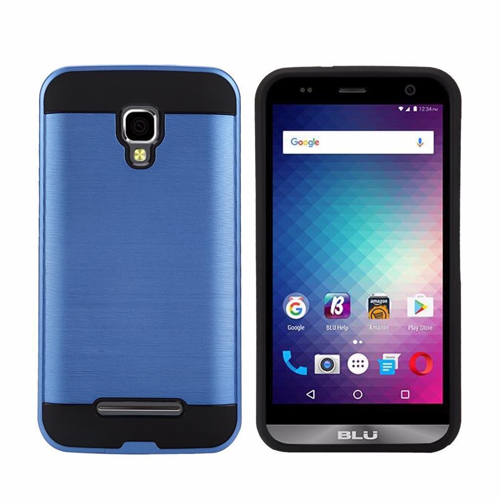 Blu Dash XL (D710U) Cellphone Case, Tough Hybrid Armor Shockproof Dual Layer Drop Protection Case Cover Case (VGC Blue)