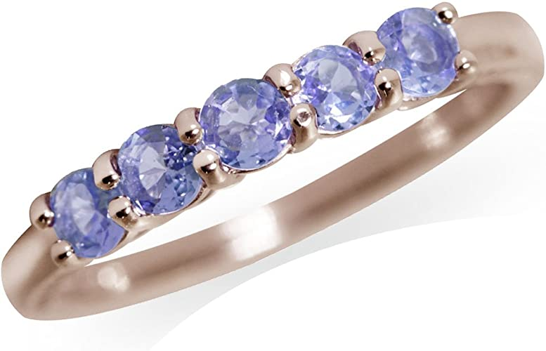 Genuine Tanzanite /& White CZ Gold Plated 925 Sterling Silver Ring