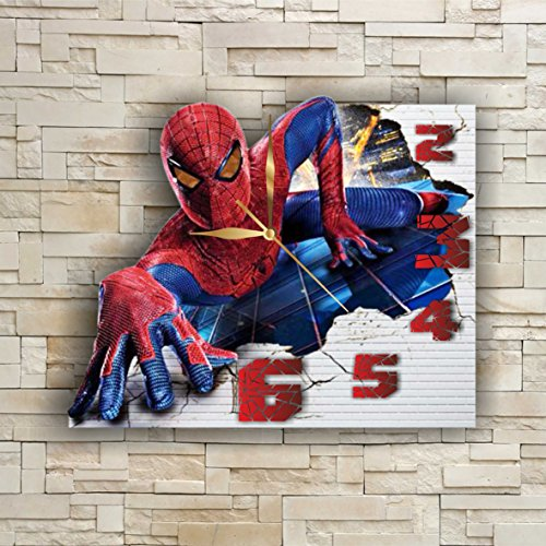 SpiderMan 11.8'' Original Handmade Wall Clock – Get unique décor for home or office – Best gift ideas for kids, friends, parents and your soul mates