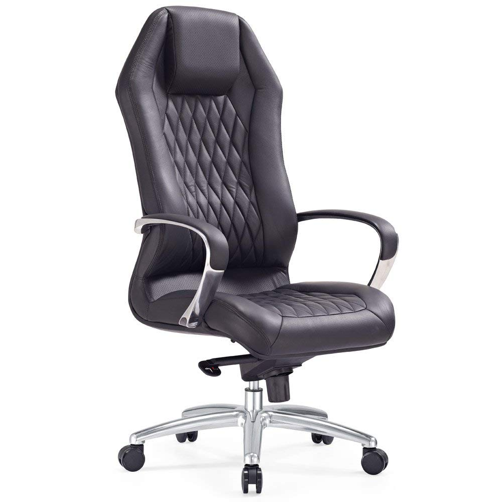 Modern Ergonomic Sterling Leather Executive Chair with Aluminum Base- Black