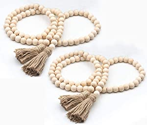 58In/pc Farmhouse Beads Wood Bead Garland Rustic Prayer Beads Boho Beads with Tassels Walling Hanging Garland for Rustic Country Decor (2 Pack)