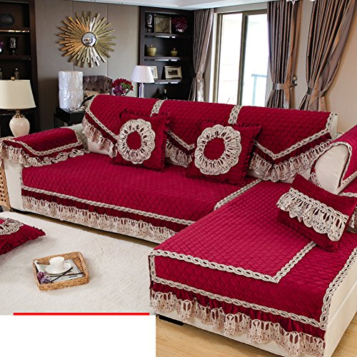 Winter plush European-style sofa cushions Simple fabric modern sofa sets lace arm back scarves-D 90x240cm(35x94inch)