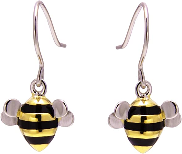 Solid Sterling Silver 925 bumble bee stud earrings