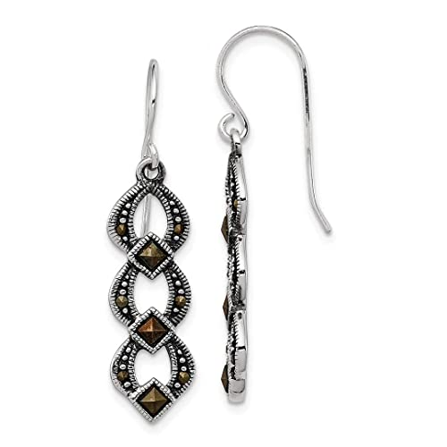 4648e4226 Image Unavailable. Image not available for. Color: 925 Sterling Silver  Marcasite Drop Dangle Chandelier Earrings ...