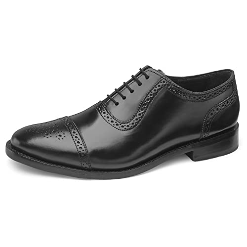 Samuel Windsor Men's Handmade Goodyear Welted Semi Brogue Shoes with  Italian Leather in Black and Tan