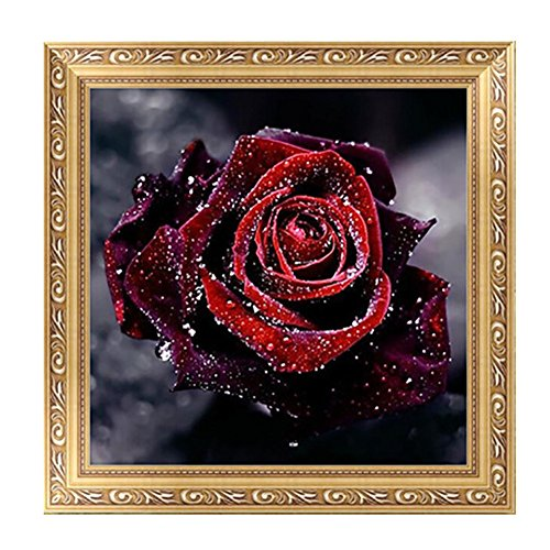 Techinal DIY 5D Diamond Painting Red Rose Flower Embroidery Cross Stitch Home Decor (Red Lion Diamond)