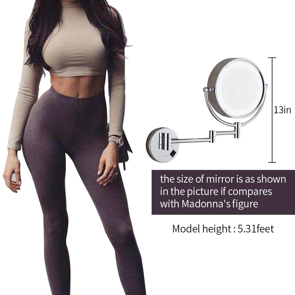 8.5in, Chrome hardwire GURUN 8.5 Inch LED Lighted Wall Mount Hardwired Makeup Mirror with 10x Magnification,direct wire,Chrome Finish M1809D