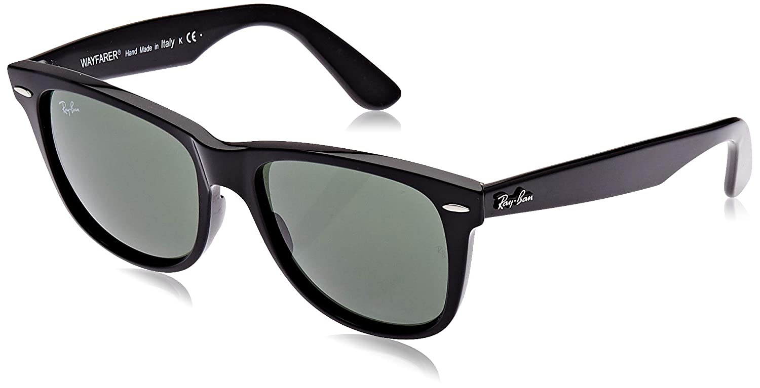 Ray-Ban RB2140 Original Wayfarer Sunglasses, Black/Green, 54 mm