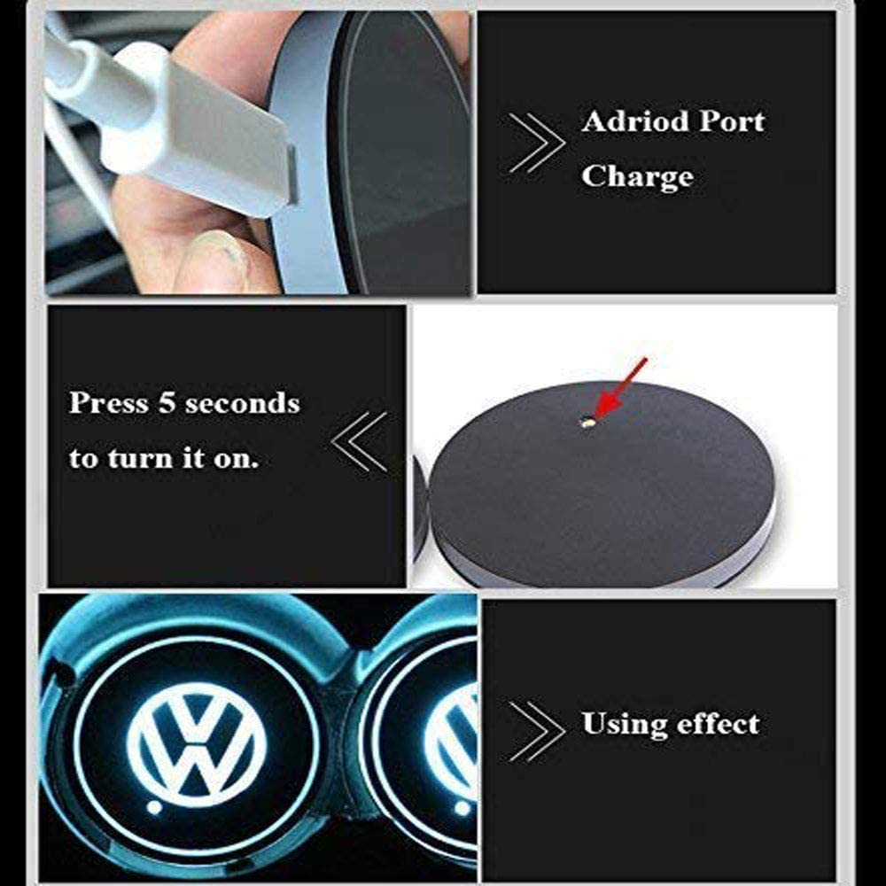 7 Colors Changing USB Charging Mat Luminescent Cup Pad LED Interior Atmosphere Lamp Honghou Technology 2pcs LED Car Cup Holder Lights for BMW BMW