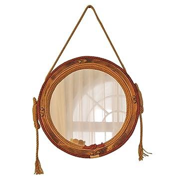 Dsc Bois Chanvre Miroir Suspendu Retro Bronze Miroir Mur Maison