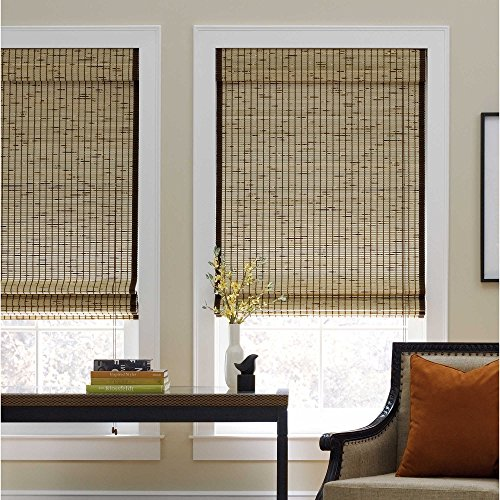 Shade Tortoise Bamboo - Real Simple Natural Roman 72-inch Length Shade (34Wx72L, Tortoise)
