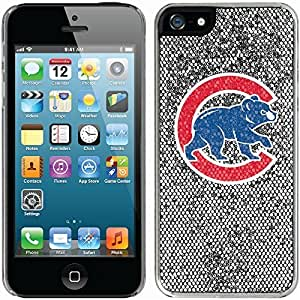 Chicago Cubs - C With Mascot design on Silver iphone 5c / 5 Thinshield Glitter Bling Case WANGJING JINDA