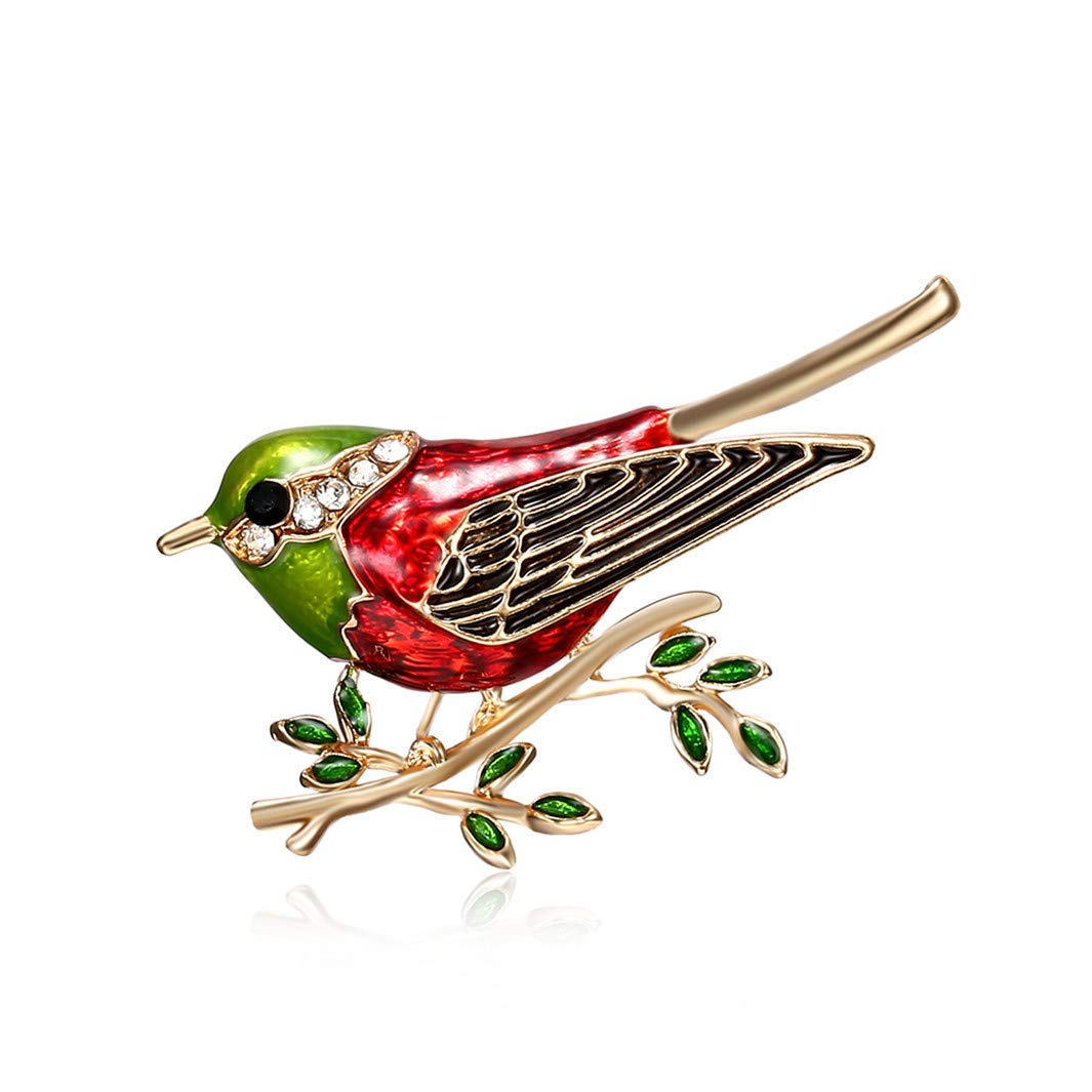 YouCY Bird Leaves Branch Brooch Rhinestone Enamel Cartoon Animal Brooch Accessories Wedding Brooches Pin Jewelry Gifts For Women Teen Girls,Green
