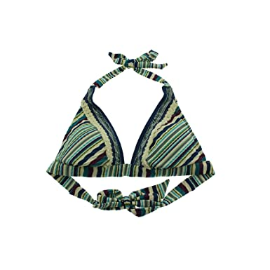 cf3cf70e1f247 Image Unavailable. Image not available for. Color: Lucky Brand Women's  Mumbai Magic Banded Halter Bikini Top Blue Moon S