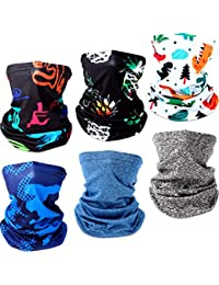 6 Pieces Kids Neck Gaiter Summer Bandana Balaclavas Colorful UV Protection Face Cover Scarf for Children