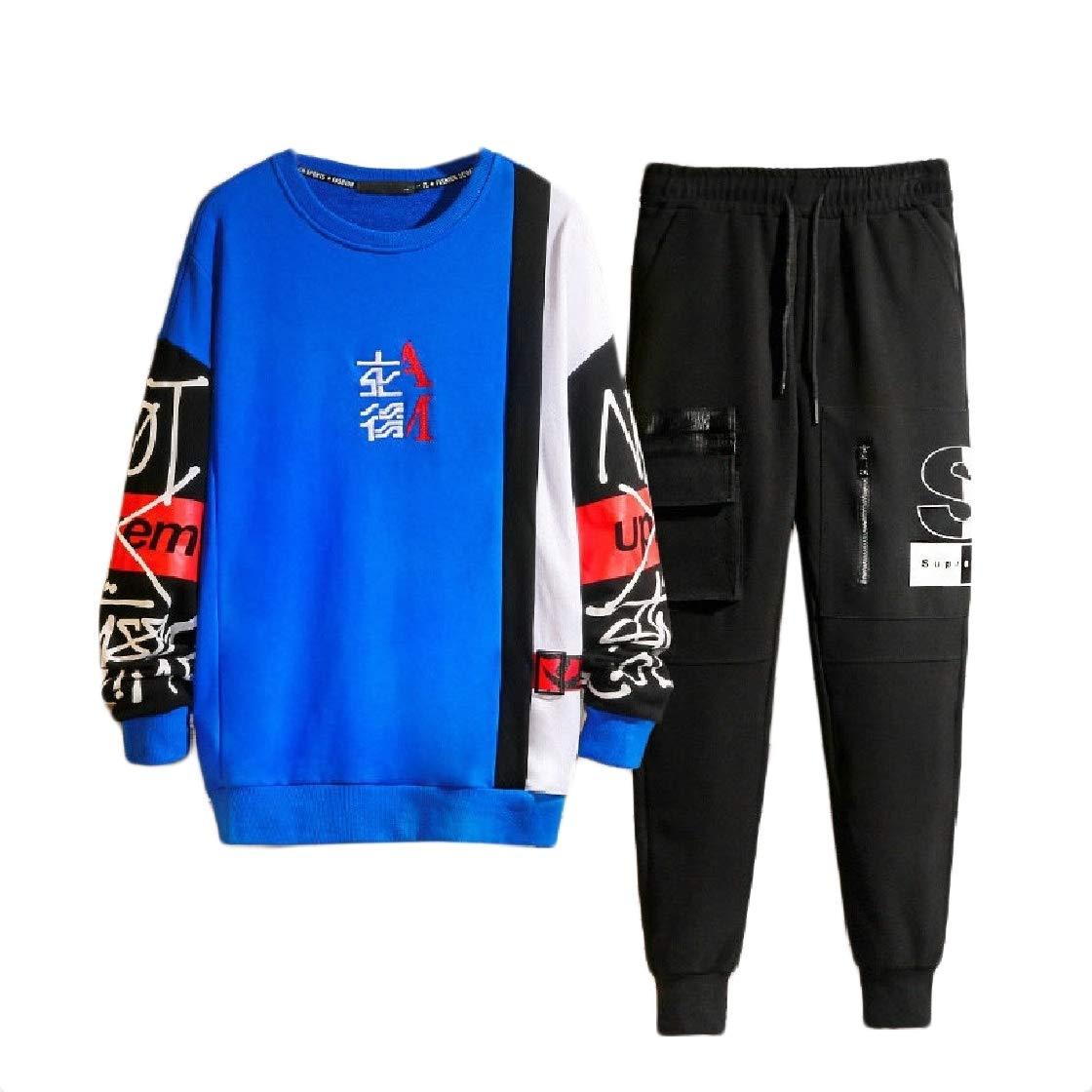 DressUMen Zipper Contrast Color 2 Piece Activewear Printing Sweatsuits Tracksuits