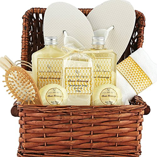Getaway Gift (Large Spa Gift Basket. Tropical Islands Clean Getaway Spa Basket with Bubble Bath, Beach Bath Bombs etc.Best Thank You, Get Well, Gift Baskets for Men, Women, Teens, & Friends Gifts)